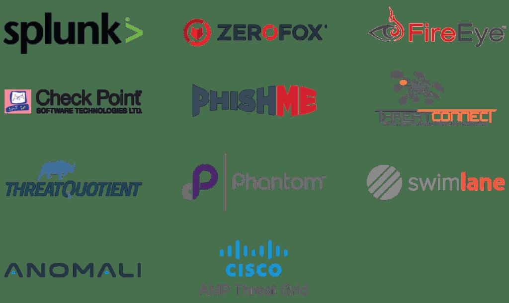 logos of splunk, zerofox, fire eye, check point, phish me, threat connect, threat quotient, phantom, swim lane, anomali, and cisco
