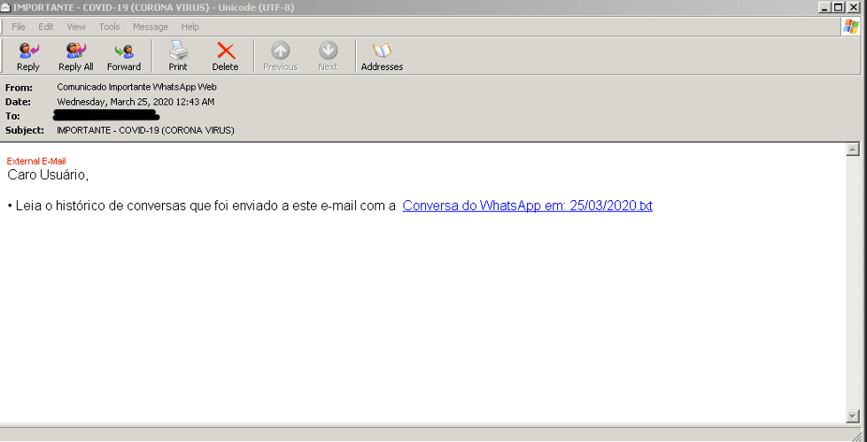 Example of MetaMorfo malspam email