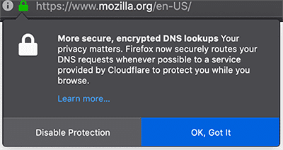 Example of a Mozilla warning, regarding DNS over HTTPS (DoH) - Cisco Umbrella Blog