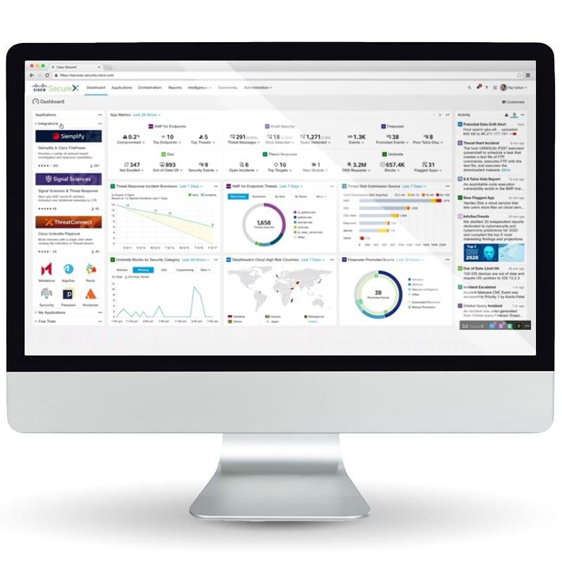 SecureX dashboard with Umbrella integration