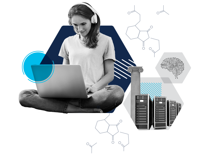 Woman working on a laptop while wearing headphones, infrastructure is protected by AI learning