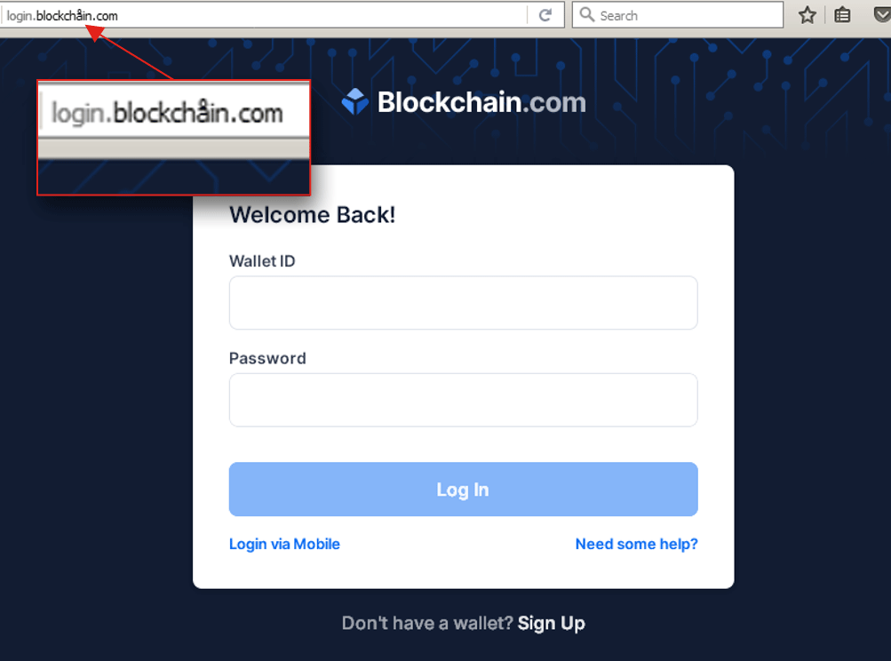 Malicious url used for blockchain login
