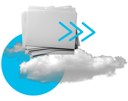 Several file folders sit on top of a cloud. Blue arrows point away from the folder to the right-hand side of the screen, indicating risk of data loss.