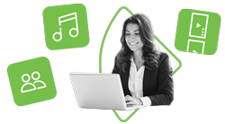 A smiling woman sits in front of a laptop against a white background. Around her are three green icons, indicating a music app, media app, and social media app.