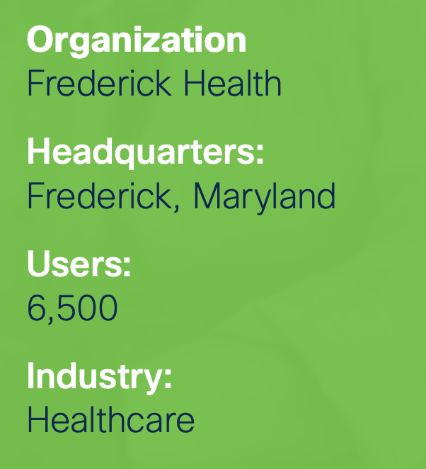"""An informational graphic that reads: """"Organization: Frederick Health. Headquarters: Frederick, Maryland. Users: 6,500. Industry: Healthcare"""